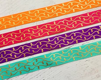 7/8 Fall Gold Doodles Ribbon - USDR - Gold Foil Doodle Ribbon - Doodle Ribbon