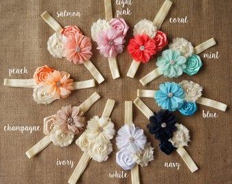 Ivory Flower Headband, Girls Headband, Flower Headband, Ivory Flowers headband, Toddler Headband, Baby Headband, Baptism Baby Headband