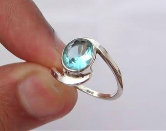 Blue Topaz ring, 92.5% sterling silver ring, silver Blue Topaz ring, gemstone ring, sterling silver ring, Topaz, women's ring,handmade ring