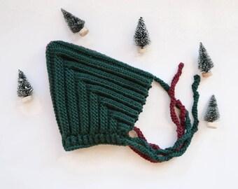 Baby Knit hat, baby knit bonnet,baby cap, baby hat,baby knitwear,hand knit baby bonnet, Pixie Bonnet, Pixie Hat,