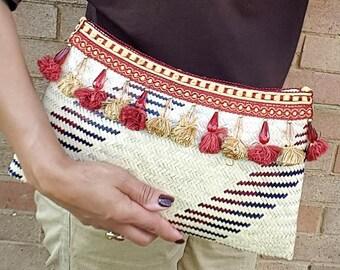 Straw Bag With Tassel Fringe