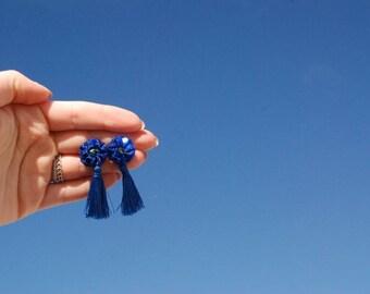 Dark Blue Sparkly Tassel Earrings