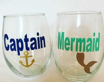 Captain and Mermaid| Set of 2