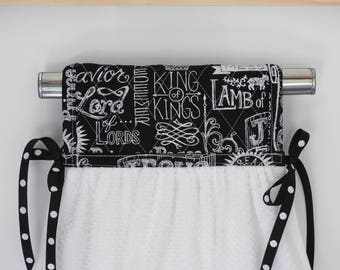 King of Kings Black & White Hanging Kitchen Hand Towel Quilted Cotton Pot Holder Coordinating Ribbon Ties onto any kitchen appliance handle.