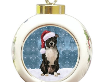 Let it Snow Christmas Holiday Pit Bull Dog Wearing Santa Hat Round Ball Ornament