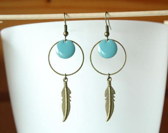 Bronze feather, ring and blue sequin earrings