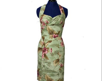 Plus Size Hawaiian Tiki Wiggle Dress, Rockabilly, Pin Up, 50s Dress, Vintage, Retro for Women/Kalama Dress/Tropical/Floral – Hawaiian Print