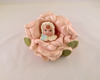 Vintage Pink Cabbage Rose Baby Planter