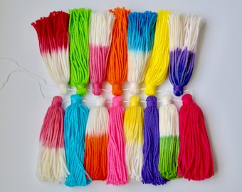 Yarn tassel garland / dip dyed / nursery bright / kid's bedroom decor / summer party / party decorations / popsicle colors / rainbow decor