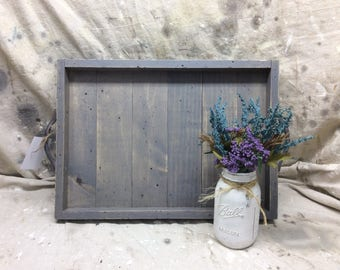 Large rectangular tray, ottoman tray, coffee table tray, seaside gray color, distressed tray, rustic tray, farmhouse tray, beach decor