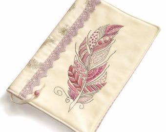 Reusable Fabric Book Cover, Notebook Case, Travel Journal, Diary Cover, Pink Feather, Handmade Embroidery, Gift for Her