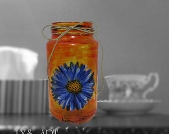 Blue Daisy Painting Glass Vase Orange