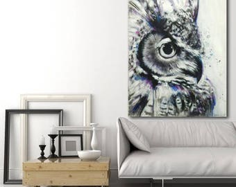 OWL painting 30 x 40 inches acrylic on canvas