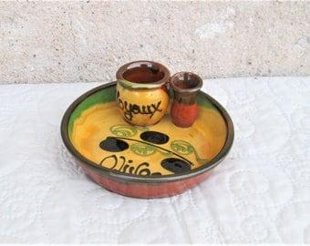 Vintage French Olive Bowl, snack bowls, aperatif items, ceramique serving dishes