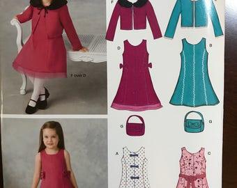 Girls toddler uncut dress and jacket pattern size 1/2 - 4