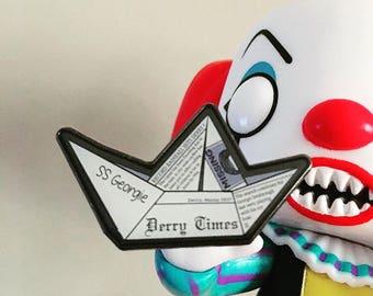IT themed S.S. Georgie Paper Boat Enamel Pin