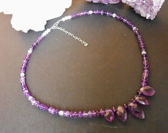 Amethyst and Clear Quartz Sterling Silver Necklace