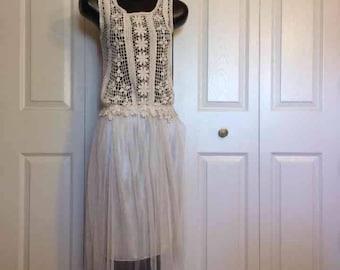 Vintage Cream Crochet Top with Light Sheer Skirt Dress Off White Summer Layer Dress