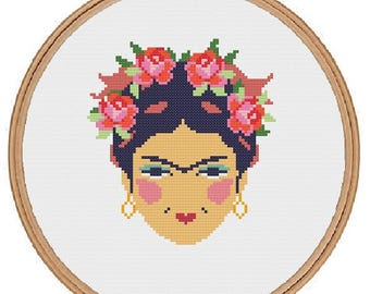 Frida Kahlo cross stitch pattern - instant download - feminist cross stitch - subversive - Art Mexican