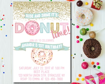 Rise and shine its donut time, Donut Birthday Invitation, Donut Party Birthday Invitation, Donut Invitation, Pastel Donuts ANY AGE - 1750
