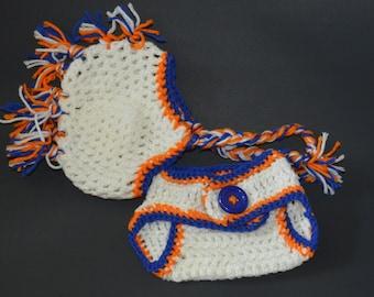 Crochet/0-3 month/Florida Gator Baby/ Mohawk hat/ adjustable diaper cover/set