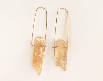 Citrine golden honey earrings, Minimalist earrings, Citrine earrings, Gemstone earrings, Quartz earrings, Gold drop earrings