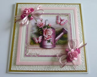 Flower And Watering Can Birthday Card
