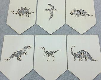 Geometric Dinosaur, Plywood Wall Art, Scandinavian Design, Boys Bedroom, Trex Brontosaurus, Triceratops, Nursery Decor, Kids Bedroom, Flag