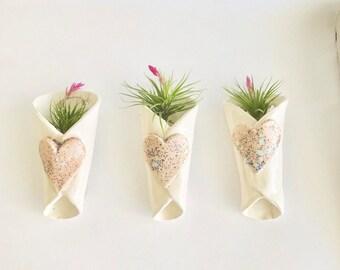 Handmade Pink Heart Air Plant Holders