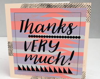 Thank you cards, Thank You Cards Wedding, Thank you card, geometric greeting card, abstract thanks card, modern thank you card, thanks a lot