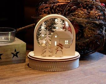 Wooden Handmade Snowglobe, Wooden Winter Wonderland Lighting, Winter Decoration, Christmas Lights, Edge Lit Winter Scene