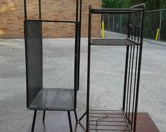 "Free Shipping Anywhere!!! Vintage Pair Of Mid Century Atomic Era Metal 20"" And 21.5""  Metal Telephone Stand Magazine Racks"