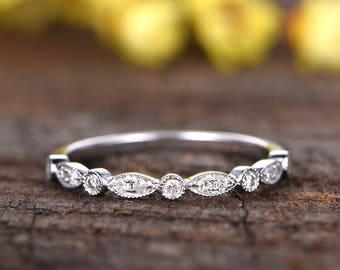 14k white gold Milgrain bridal promise ring,Marquise diamond wedding band,half eternity band,anniversary ring,Deco stacking matching band