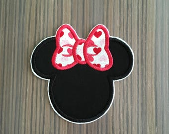 Black and Pink Heart Minnie Mouse Iron on Applique Patch
