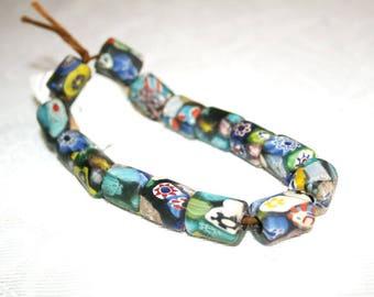 Millefiori beads, glass beads, handmade, Venetian beads, Tradebeads, handmade, 19 x 14 mm