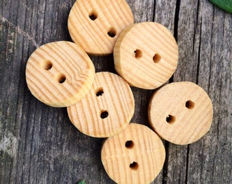 Broomhandle Buttons // Upcycled Broomstick Buttons // Set of 6 Wood Buttons