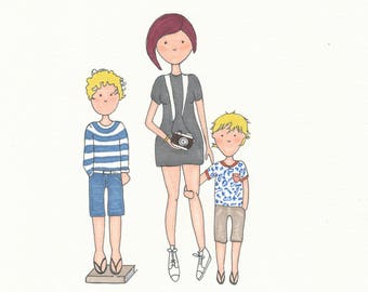 3 people - family illustration - to order by sending your photos - 3