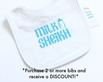 Milk Sheikh baby bib, personalized, Islamic Muslim, cute baby boy girl, snack time, eating, drool, teething, baby shower gifts, cute outfit
