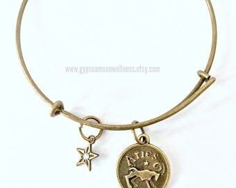 Courageous Aries Zodiac Bronze Adjustable Bangle Charm Bracelet Double Sided Astrology Charm Star Signs Handmade Jewelry Free Shipping