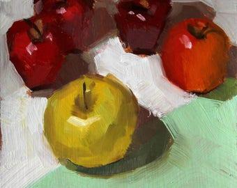"""Small Still Life Oil Painting """"The Ringleader"""" 6x6 Original Art on Paper"""