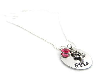 Hand Stamped Personalised Name Necklace with Rose Charm and Birthstone - Gift Boxed