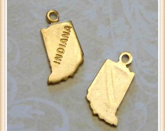 Indiana 12 pcs raw brass state charm IN