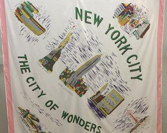 FREE SHIPPING - Vintage New York City Scarf - Souvenir Scarf