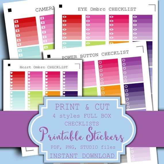 SALE! 4 Styles Full Box Ombre Checklists | FULL BOX Planner Stickers | Ombre Heart Checklist Full Box Planner Stickers Vertical Layout
