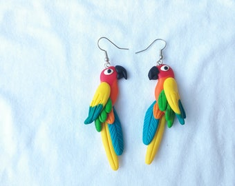 Parrot earrings Sun conure -  handmade fimo earrings polymer clay