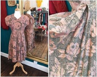 "1950s Pink Flocked Taffeta Evening Dress W 33"" Large"
