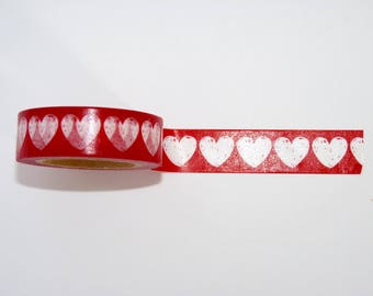Hearts 10 m washi tape masking tape - Christmas - gift - packaging - decoration - wedding