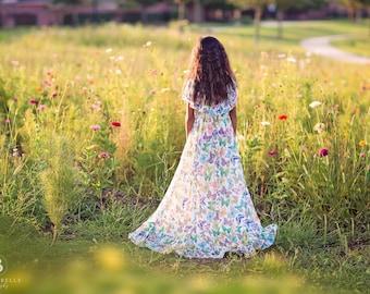 Boho Flower Girl Dress, Butterfly Dress, Girls Lace Dress, Girls Floral Dress, Floral Lace Dress, Boho Wedding, Bohemian Dress, Floral Maxi