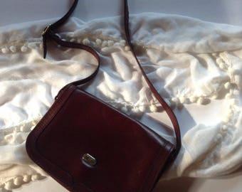 Village Leathers London England   Vintage Mini Genuine Leather Merlot Shoulder Bag