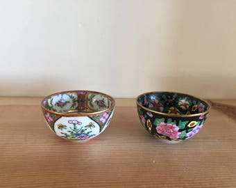 Beautiful Pair of Vintage Miniature Japanese Tea Bowls Highly Decorated in Stunning Colours, Gilt and Floral Patterns